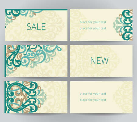 delicate arabic motif: Vintage ornate labels in east style. Colorful Victorian floral decor for stickers and tags. Template frame for greeting card and wedding invitation. Ornate vector border and place for your text. Illustration