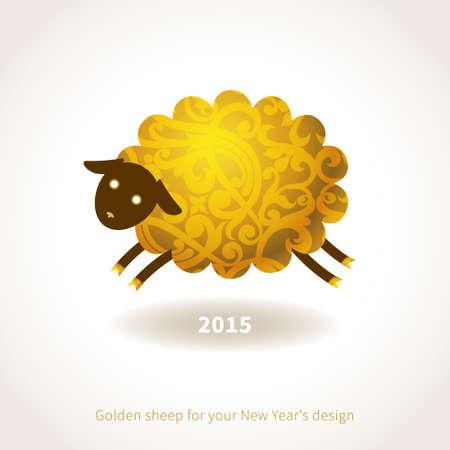 frohes neues jahr: Symbol der 2015 Schafe, verzierte Goldblumenmuster. Vektor-Element f�r Silvester Design. Illustration 2015 Jahr der Schafe. Illustration
