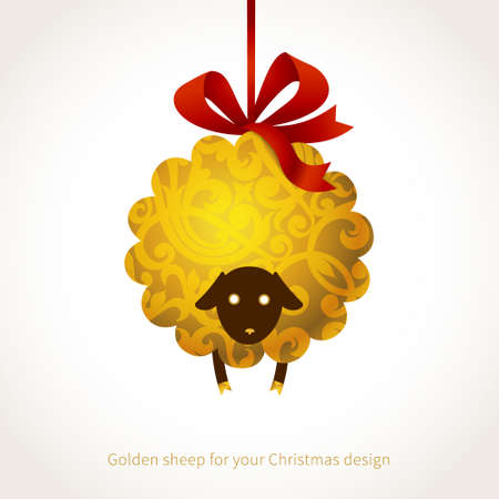 sheep sign: Symbol of 2015. Sheep, decorated gold floral patterns. Vector element for New Years design. Illustration of 2015 year of the sheep.