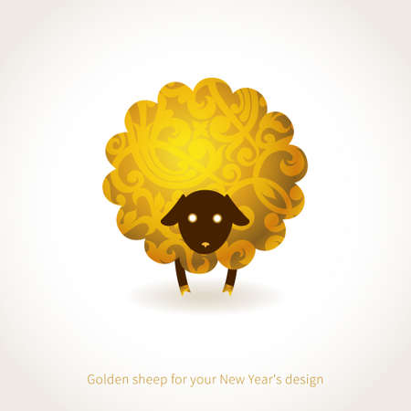 Symbol of 2015. Sheep, decorated gold floral patterns. Vector element for New Years design. Illustration of 2015 year of the sheep. Vector