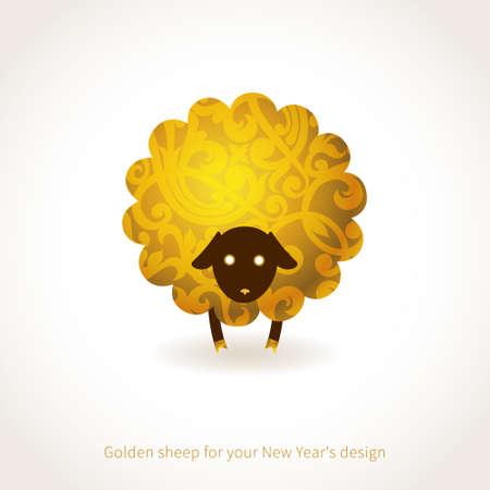 nieuwjaar: Symbool van 2015 Schapen, versierd gouden bloemmotieven. Vector element voor Nieuwjaar ontwerp. Illustratie van 2015 jaar van de schapen.