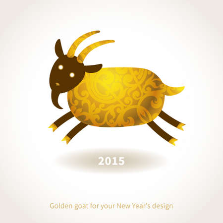Symbol of 2015. Goat, decorated gold floral patterns. Vector element for New Years design. Illustration of 2015 year of the goat. Vector
