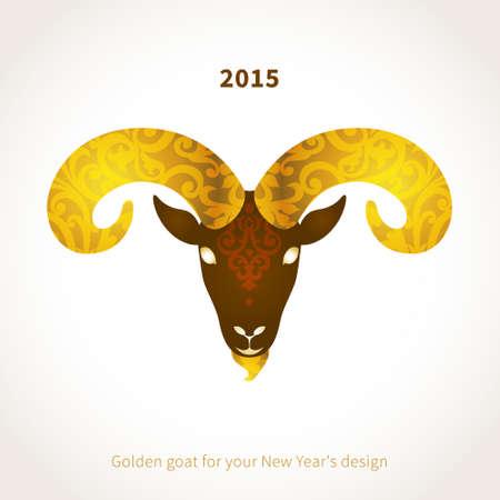 wild goat: Ilustraci�n del vector de cabra, s�mbolo de 2015. Jefe de cabra, estampados de flores de oro decorada. Elemento del vector para el dise�o de A�o Nuevo. Imagen de 2015 a�o de la cabra. Vectores