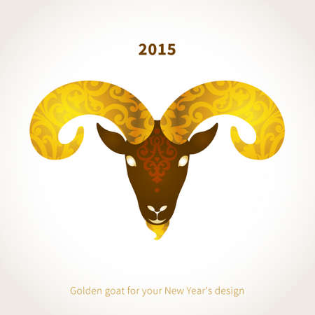Vector illustration of goat, symbol of 2015. Head of goat, decorated gold floral patterns. Vector element for New Years design. Image of 2015 year of the goat. Vector