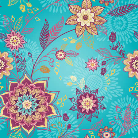 herb garden: Bright spring seamless pattern with flowers and leaves. Summer ornamental wallpaper. Ornate decor for wallpaper. Endless texture and colorful pattern fill. Floral web page background.