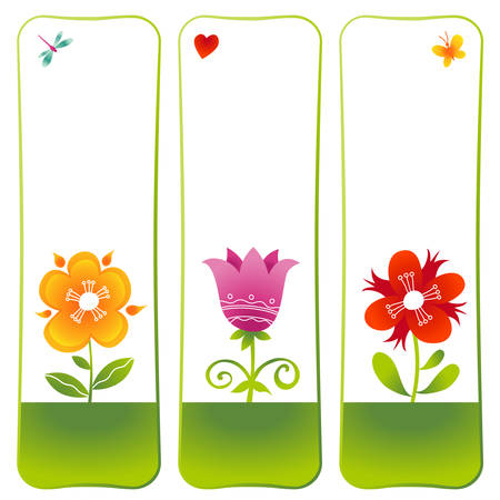 Vector floral cards. Colorful summer decor and place for your text. Template frame desogn for greeting card and wedding invitation. Bookmarks. Vector