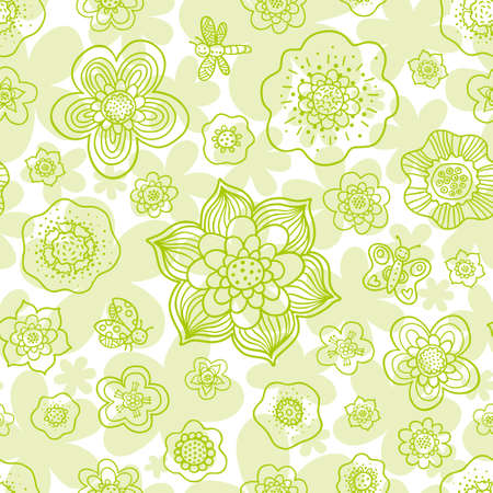 textured paper: Floral outline seamless pattern with butterfly, dragonfly and ladybug. Vector monochrome background. Endless simple texture. Paper textured backdrop. Pastel pattern fill.
