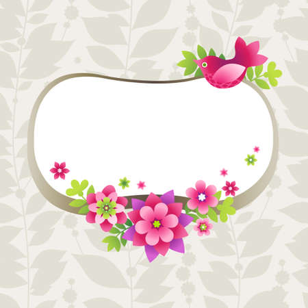 garden party: Bright pattern with colorful flowers and birds. Place for your text.  It can be used for decorating of wedding invitations, greeting cards, decoration for bags or clothes.