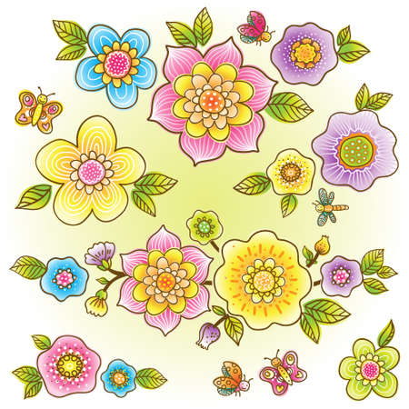 used items: Vector set of bright colorful flowers, butterflies and dragonflies. Collection of items for scrapbooking. It can be used for decorating of invitations, greeting cards, decoration for bags and clothes.