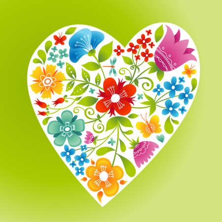 Romantic floral wallpaper with heart. Fine summer flowers with butterfly and ladybird. It can be used for decorating of wedding invitations, greeting cards and decoration for bags. Vector