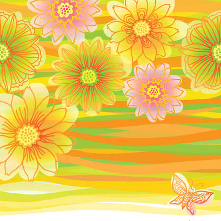an inflorescence: Bright pattern with colorful flowers and butterfly. Place for your text.  It can be used for decorating of wedding invitations, greeting cards, decoration for bags or clothes.