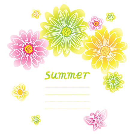 cute border: Bright pattern with colorful flowers and butterflies. Place for your text.  It can be used for decorating of wedding invitations, greeting cards, decoration for bags or clothes.