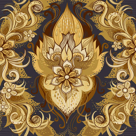 classic style: Traditional floral pattern in retro style. Ornamental wallpaper. Background in Victorian style. It can be used for backdrop, pattern fills, web page background, surface textures, classic fabric. Illustration