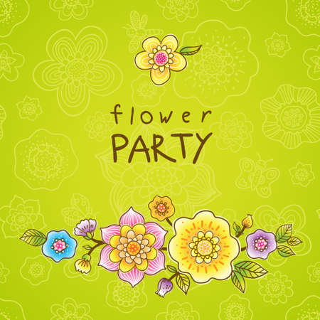 Bright pattern with colorful flowers. Place for your text.  It can be used for decorating of wedding invitations, greeting cards, decoration for bags or clothes. Vector