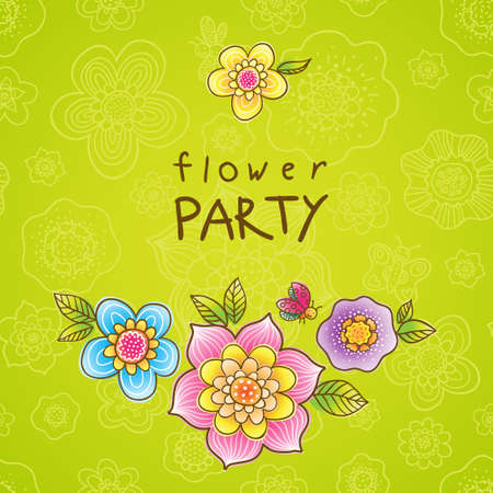 ladybug cartoon: Bright pattern with colorful flowers, butterflies and dragonflies. Place for your text.  It can be used for decorating of wedding invitations, greeting cards, decoration for bags or clothes. Illustration