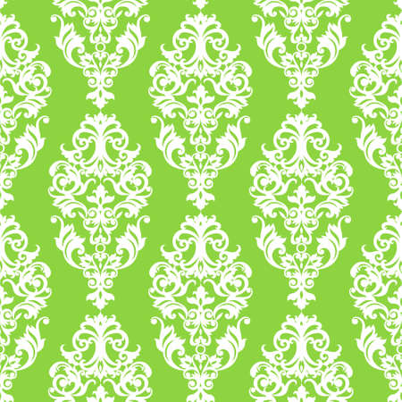 victorian wallpaper: Vector seamless pattern with swirls and floral motifs in retro style. Victorian background of modern green color. It can be used for wallpaper, pattern fills, web page background, surface textures.