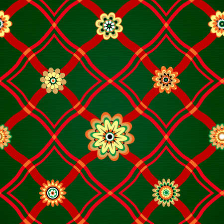 chequered ribbon: Seamless pattern with a geometrical ornament and flowers  Bright red stripes and flowers on a dark green background  Red plaid  Illustration