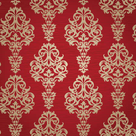 Vector seamless pattern with swirls and floral motifs in retro style  Victorian background of gold and red color  It can be used for wallpaper, pattern fills, web page background, surface textures