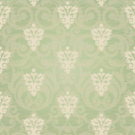 victorian wallpaper: Vector seamless pattern with swirls and floral motifs in retro style  Victorian background of light green color  It can be used for wallpaper, pattern fills, web page background, surface textures  Illustration
