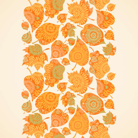 Autumn concept seamless border. Bright floral background with leaves and hearts. Vector