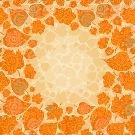 Autumn concept seamless pattern with place for text. Bright floral background with leaves. Vector