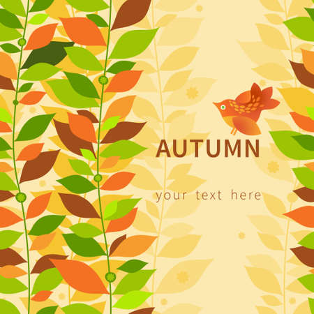 border vintage: Autumn concept seamless border. Vintage floral background with bird and leaves. Illustration