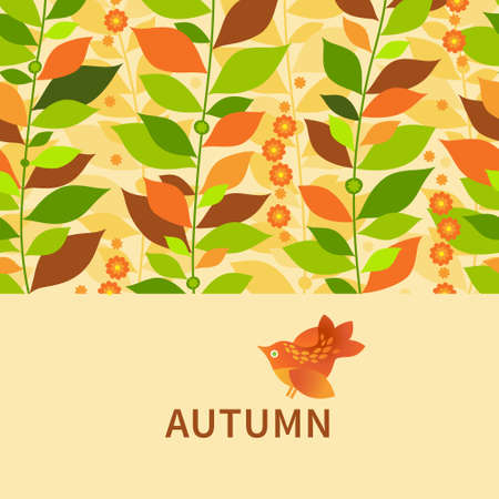 Autumn concept seamless border. Vintage floral background with bird and leaves.   Vector