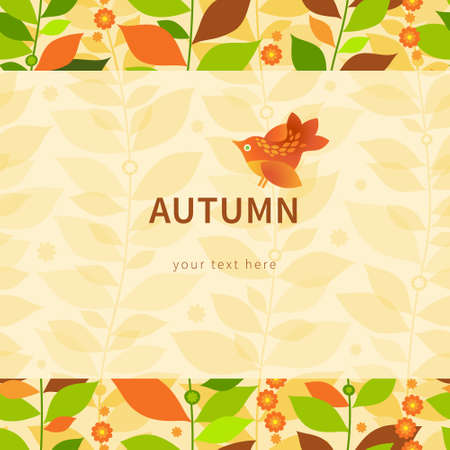 border vintage: Autumn concept seamless border. Vintage floral background with bird and leaves.
