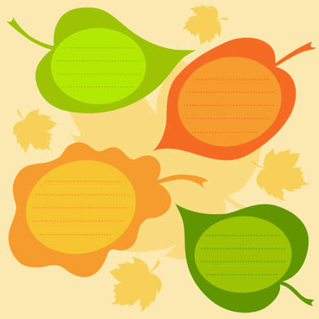 Vector set of autumn text frames in the form of leaves. Bright autumn collection.  Vector