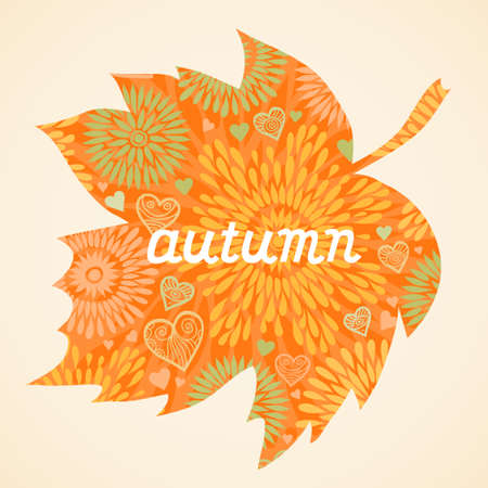 Autumn concept background in the form of a maple leaf. Bright autumn background, template design.