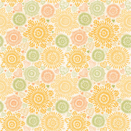 Seamless pattern with colorful flowers and hearts. Pastel autumn background. Ornamental and orange lace backdrop. Ornate floral decor for wallpaper. Endless texture. Monochrome pattern fill.