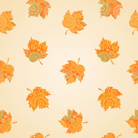 Autumn concept seamless pattern. Bright floral background with leaves.  Vector