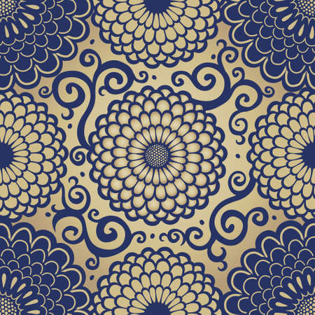 scroll work: Ornamental seamless pattern with large flowers and curls. Golden brocade floral background. It can be used for wallpaper, pattern fills, web page background, surface textures. Illustration
