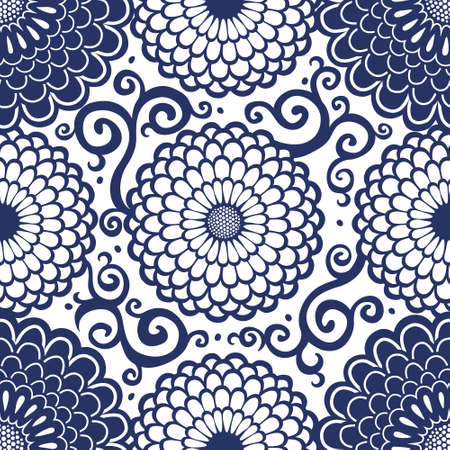 Contrasting seamless pattern with large flowers and curls. It can be used for wallpaper, pattern fills, web page background, surface textures. Vector