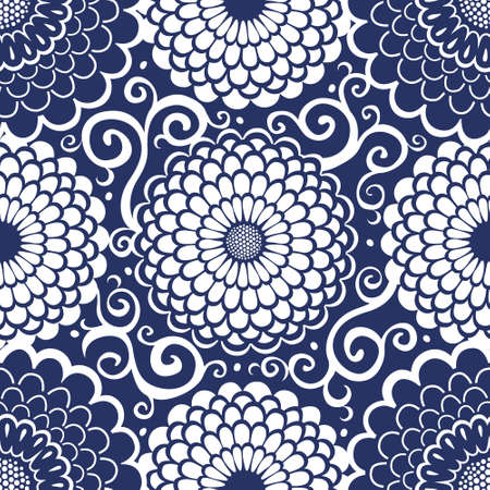 Contrasting seamless pattern with large flowers and curls. It can be used for wallpaper, pattern fills, web page background, surface textures. Vettoriali