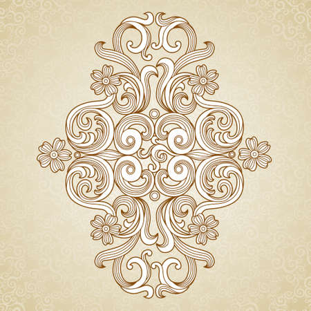 traditional events: Vintage baroque pattern. Floral ornate ornament in Victorian style. Traditional ornament and element for design. Lacy decor for greeting card and wedding invitations. Illustration