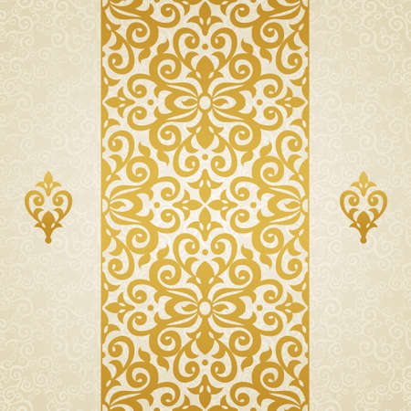 gold swirls: Vector seamless border in Victorian style. Element for design. Ornamental backdrop. Light lace background. Ornate floral decor for wallpaper. Endless texture. Monochrome pattern fill.