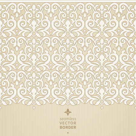 Vector seamless border in Victorian style. Element for design. Ornamental backdrop. Light lace background. Ornate floral decor for wallpaper. Endless texture. Monochrome pattern fill. Vector