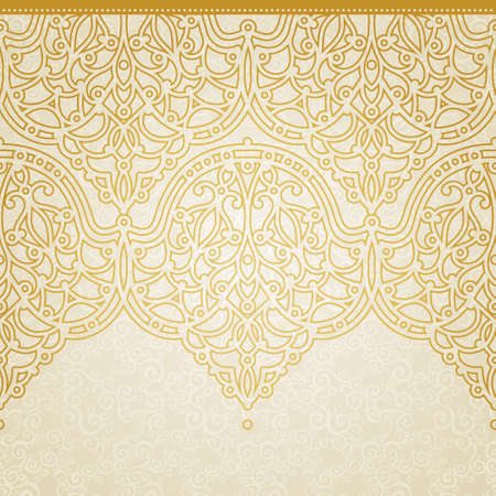 seamless: Vector seamless border in Eastern style. Ornate element for design and place for text. Ornamental lace pattern for wedding invitations and greeting cards. Traditional golden decor on light background.