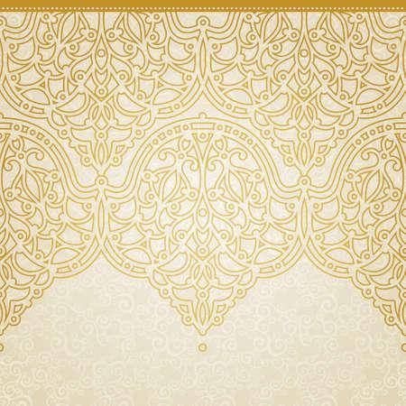 friso: Vector sin frontera en el estilo oriental. Adornado elemento para el diseño y el lugar de texto. Patrón de encaje ornamental para las invitaciones de boda y tarjetas de felicitación. Decoración de oro tradicional sobre fondo claro.