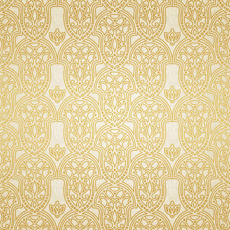 fill fill in: Vector seamless pattern in Victorian style. Golden element for design. Ornamental backdrop and light lace background. Ornate floral decor for wallpaper. Endless texture. Monochrome pattern fill.