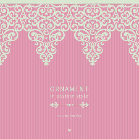 Vector seamless border in Victorian style. Element for design and ornamental backdrop. Light lace background. Ornate floral decor for frieze. Endless texture. Bright pink pattern fill. Vector
