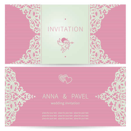 Vintage ornate cards in Victorian style. Eastern floral decor in modern colors. Template frame for greeting card and wedding invitation. Ornate vector border and place for your text. Vector