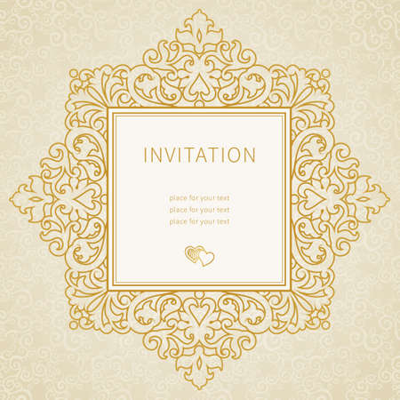 ornate: Vector lace frame in Eastern style. Ornate element for design and place for text. Gold ornamental pattern for wedding invitations and greeting cards. Traditional outline decor. Illustration