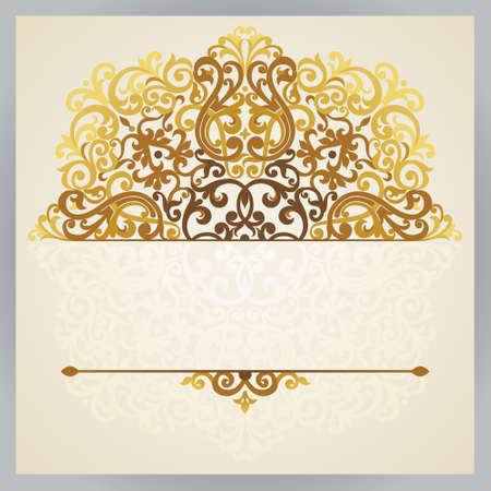 동쪽 스타일 빈티지 화려한 카드. 황금 빅토리아 꽃 장식. 인사말 카드와 결혼식 초대장 템플릿 프레임. 텍스트 화려한 벡터 테두리와 장소.