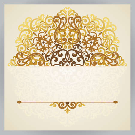 lace border: Vintage ornate card in east style. Golden Victorian floral decor. Template frame for greeting card and wedding invitation. Ornate vector border and place for your text.