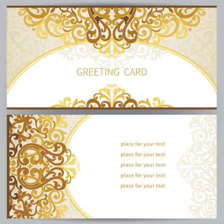 Vintage verzierten Karten in Ost-Stil. Viktorianische Blumen-Dekor. Template-Rahmen für die Grußkarte und Hochzeitseinladung. Verziert Vektor-Grenze und Platz für Ihren Text.