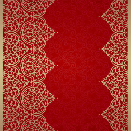 Vector seamless border in Eastern style. Ornate element for design and place for text. Ornamental lace pattern for wedding invitations and greeting cards. Traditional golden decor on red background. Vector