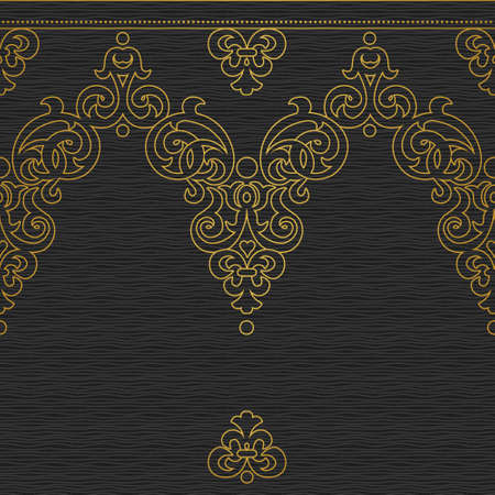 fill fill in: Vector seamless border in Victorian style. Golden element for design and ornamental backdrop. Dark lace background. Ornate floral decor for wallpaper. Endless texture. Monochrome pattern fill.