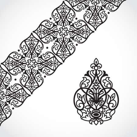 friso: Vector de encaje frontera en estilo victoriano. Adornado elemento para el diseño y el lugar de texto. Modelo ornamental para las invitaciones de boda y tarjetas de felicitación. La decoración tradicional.